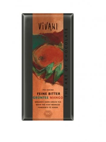 Био натурален шоколад с манго и зелен чай Vivani