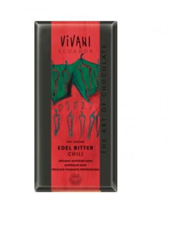Био натурален шоколад с чили, какао 70 % Vivani