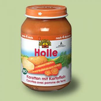 """Био пюре моркови и картофи """"Holle"""" 4м."""