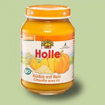 """Био пюре тиква с ориз """"Holle"""" 4м."""