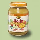 """Био пюре от ябълки и праскови, """"Holle"""" 4м."""