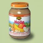 """Био пюре от ябълки и банани с пълнозърнести люспи, """"Holle"""""""